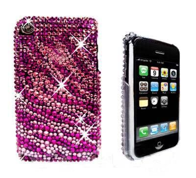 HOT-PINK-iPhone-3G-3GS-FOR-APPLE-ZEBRA-RHINESTONE-HARD-PLASTIC-CASE-COVER