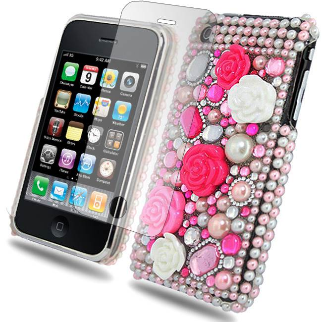 HOT-PINK-FOR-iPhone-3G-3GS-PRINCESS-DIAMOND-FLOWER-HARD-FLOWER-CASE-COVER-2x-SP