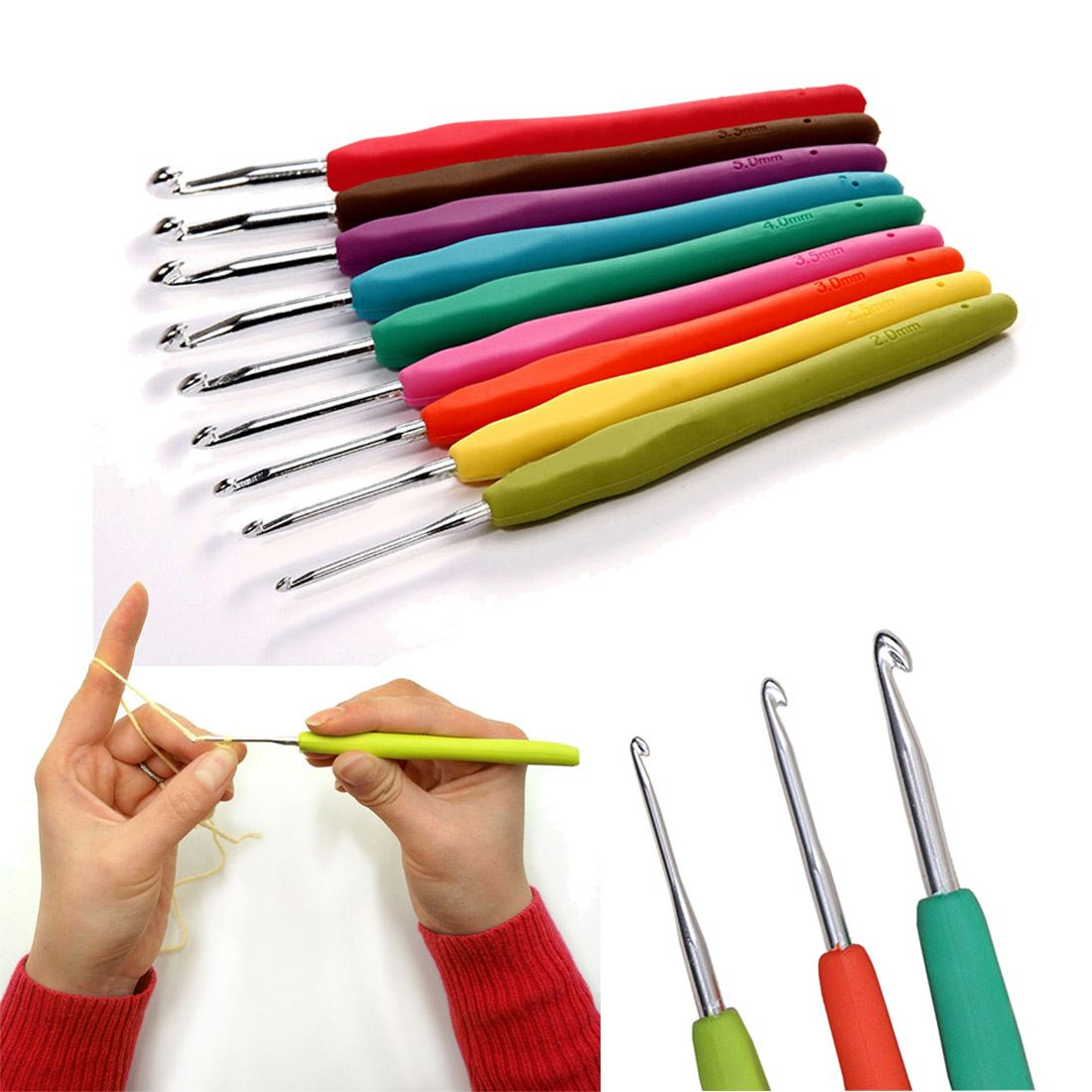 Knitting Needle Sets Uk : Sizes soft plastic handle aluminum crochet hooks