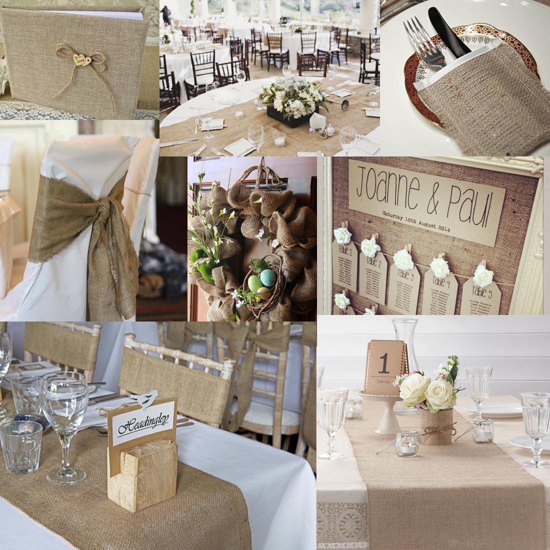 9m 30cm hessian table runners sew edge wedding decoration for Deco shabby chic en ligne