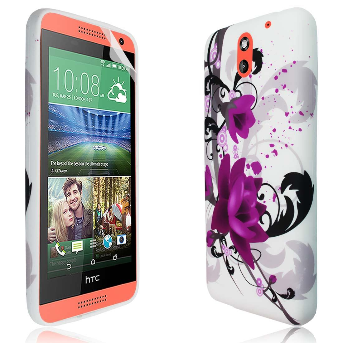 Colorful Printed TPU Gel Phone Case Cover For HTC Desire 610 + Film