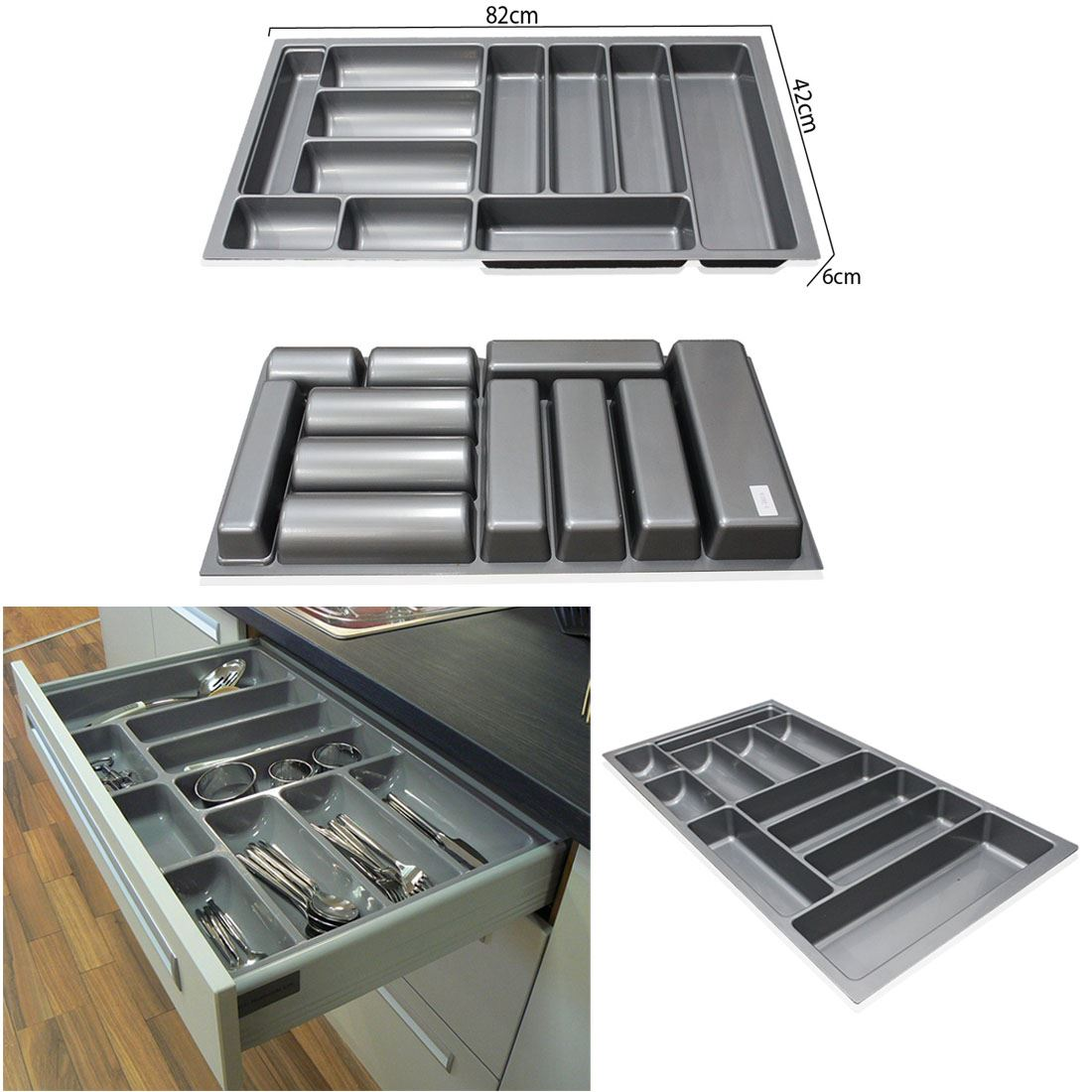 800mm 900mm grey plastic cutlery trays kitchen drawers for 4 box auto in tandem