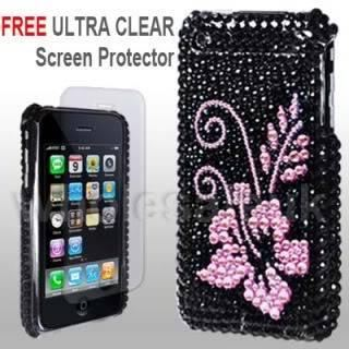 BLACK-PINK-iPhone-3G-3GS-FOR-APPLE-RHINESTONE-HARD-CASE-COVER-SCREEN-PROTECTOR