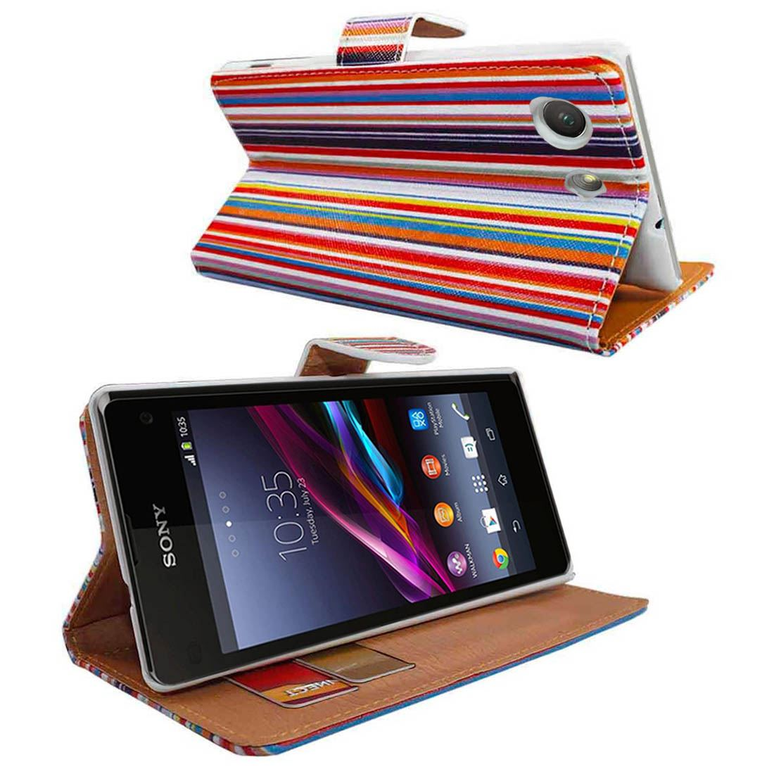 UK- Rainbow Stripes Wallet Flip PU Leather Case Cover For Various Mobile Phone