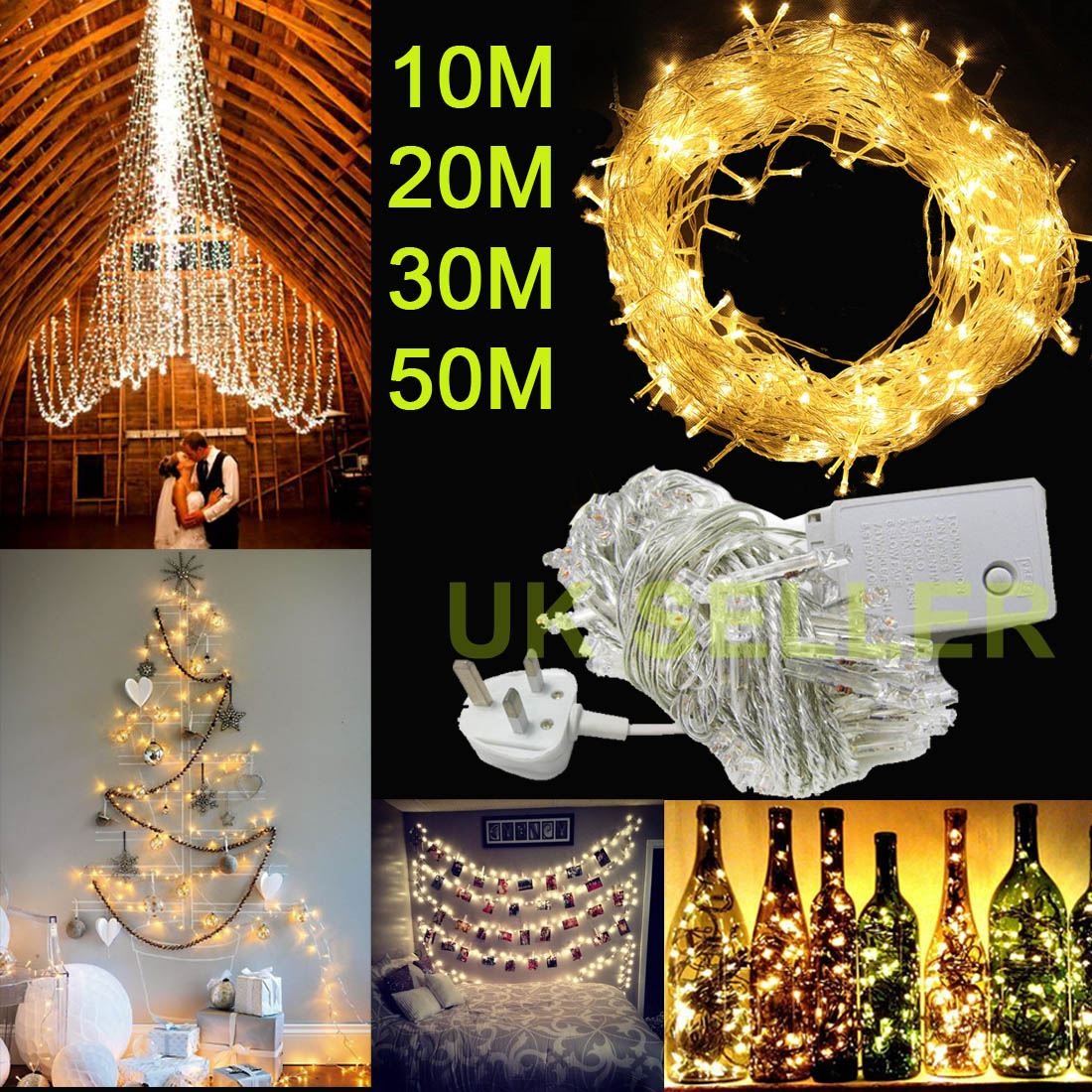 Indoor String Lights Diy : 100/200/300/500 LED String Fairy Lights Indoor/Outdoor Xmas Christmas Party DIY eBay
