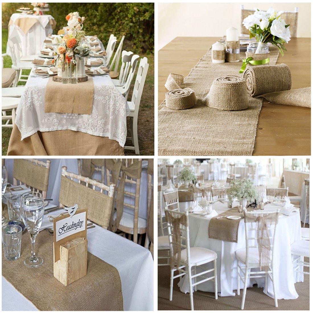 9m hessian table runners cloth sew edge wedding decoration for Deco de table shabby