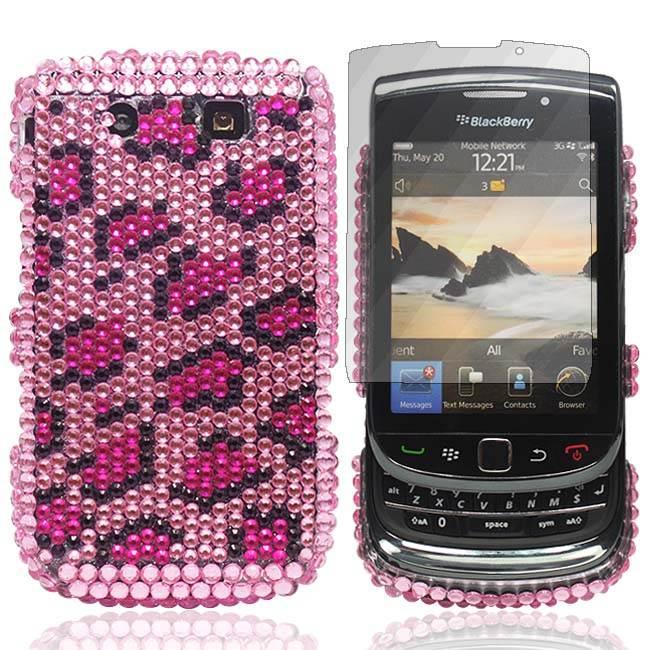 bebe diamant rose tache de leopard bling coque pour blackberry torch 9800 film. Black Bedroom Furniture Sets. Home Design Ideas