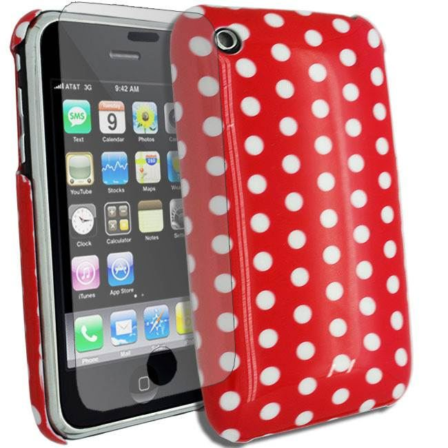 RED-FOR-IPHONE-3G-3GS-HARD-POLKA-DOTS-CASE-COVER-SCREEN-PROTECTOR
