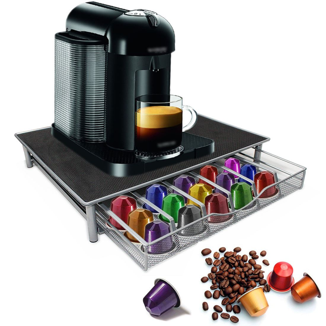 gb machine caf plate forme capsule nespresso dolce gusto stockage tiroir ebay. Black Bedroom Furniture Sets. Home Design Ideas