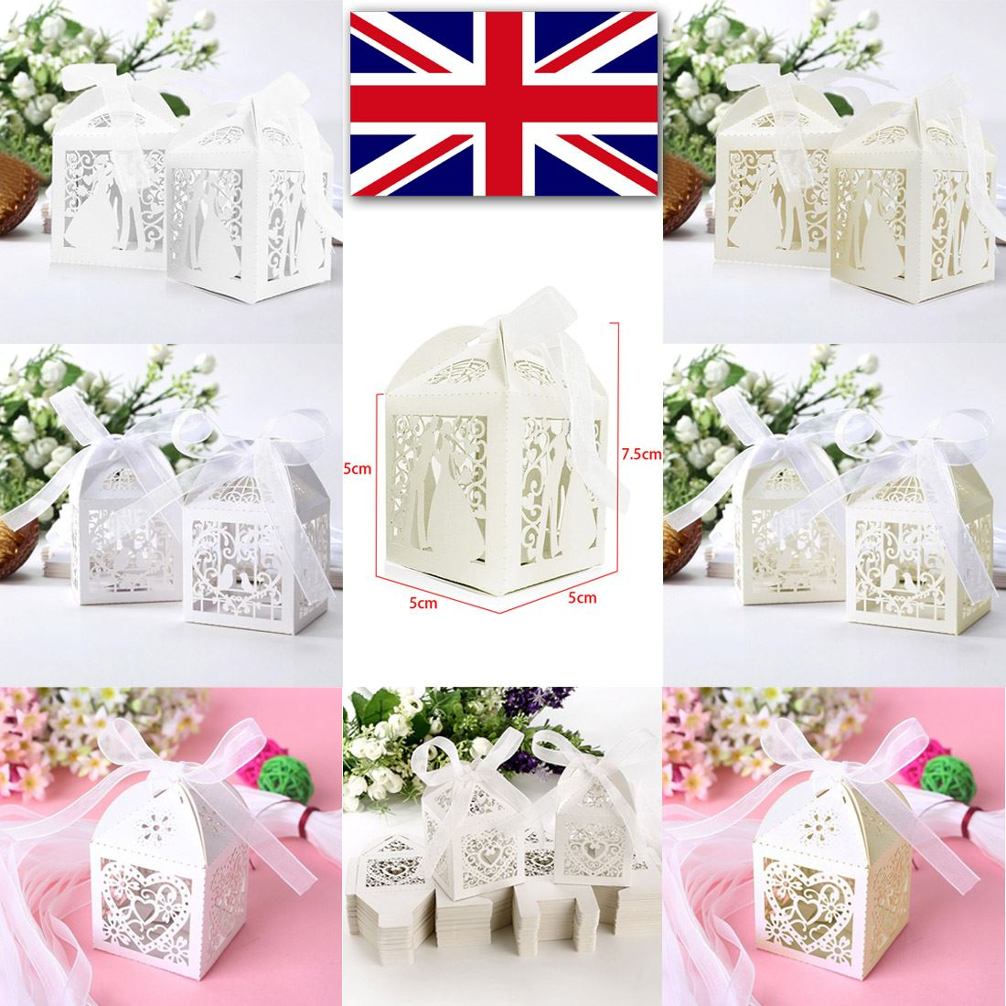 Wedding Cake Gift Boxes Uk : ... Wedding Party Sweets Candy Cake Gift Favour Boxes With Ribbon UK