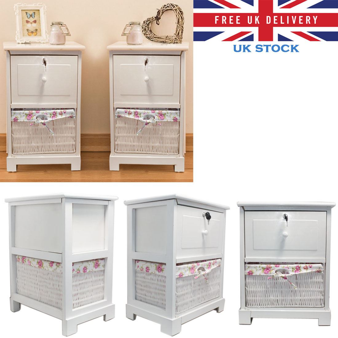 shabby chic white bedside unit table drawer with wicker storage basket cabinet. Black Bedroom Furniture Sets. Home Design Ideas