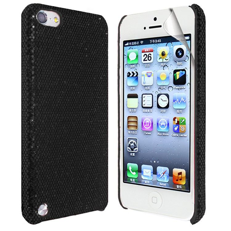 New Sparkling Disco Glitter Hard Fiber Case Cover FOR iPod Touch 5G+Screen Guard