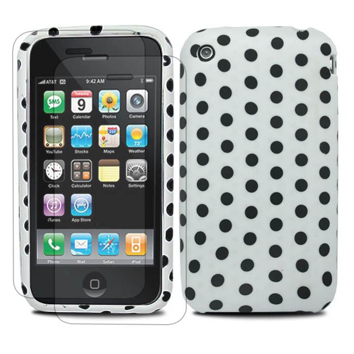 WHITE-BLACK-FOR-iPhone-3G-3GS-RUBBER-POLKA-DOTS-CASE-COVER-2x-SCREEN-PROTECTOR