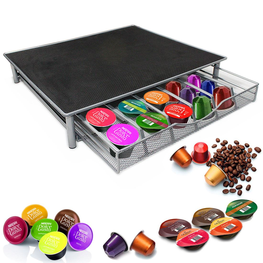 uk coffee machine stand capsule pod nespresso dolce gusto storage drawer. Black Bedroom Furniture Sets. Home Design Ideas