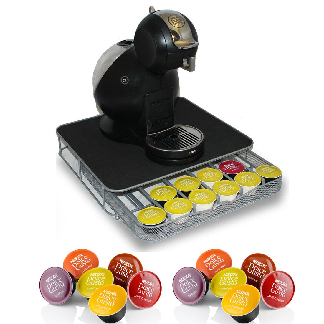 dolce gusto coffee pod stand and drawer storage holds 36 coffee capsules ebay. Black Bedroom Furniture Sets. Home Design Ideas