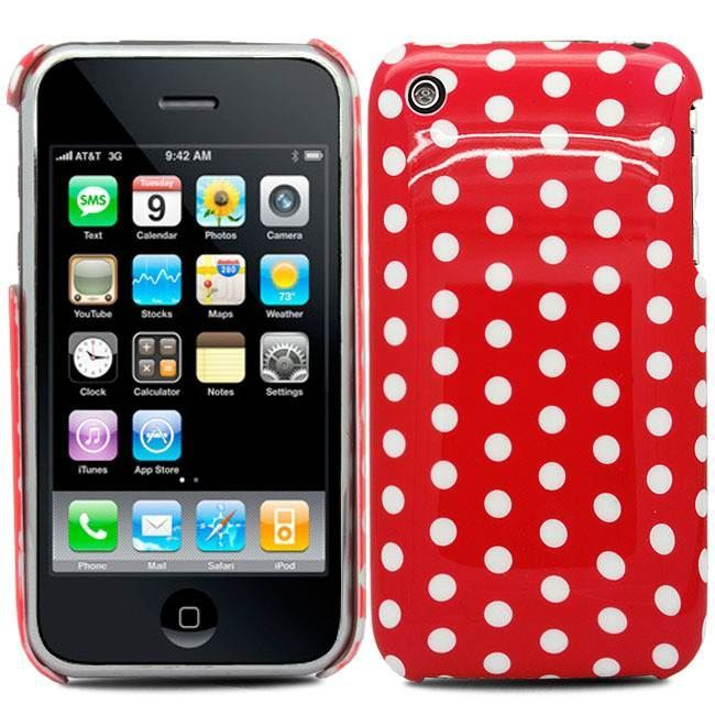 RED-FOR-iPhone-3G-3GS-HARD-POLKA-DOTS-CASE-COVER-2-X-SCREEN-PROTECTOR