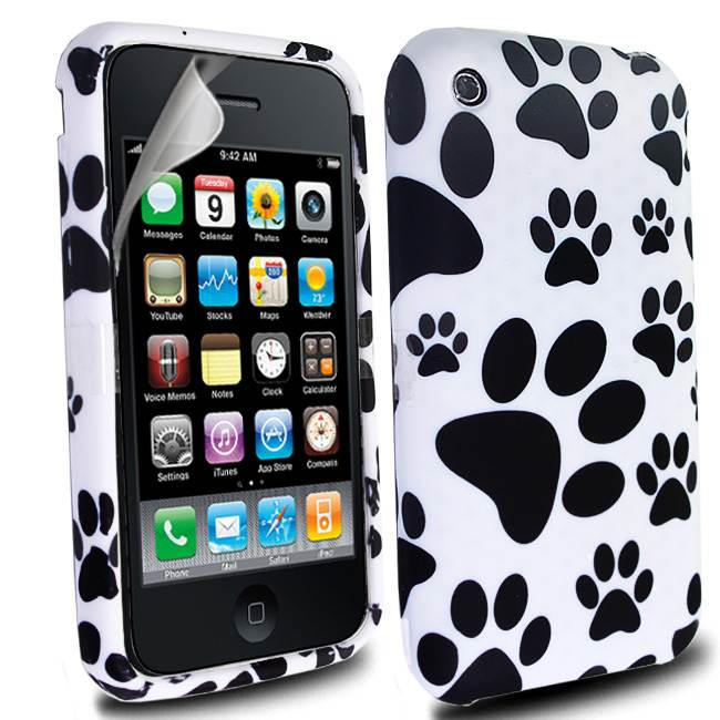 WHITE-BLACK-FOR-IPHONE-3G-3GS-PAWS-FOOTPRINT-CASE-SCREEN-PROTECTOR