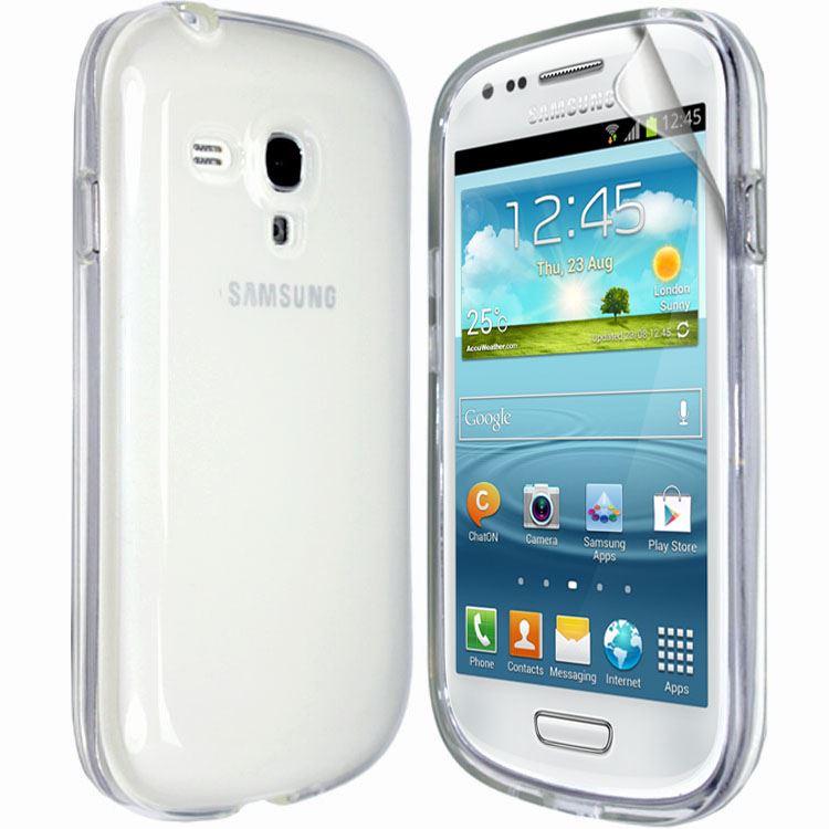 Transparent Silicone Gel Case Cover FOR Samsung Galaxy S3 Mini i8190+Screen Film