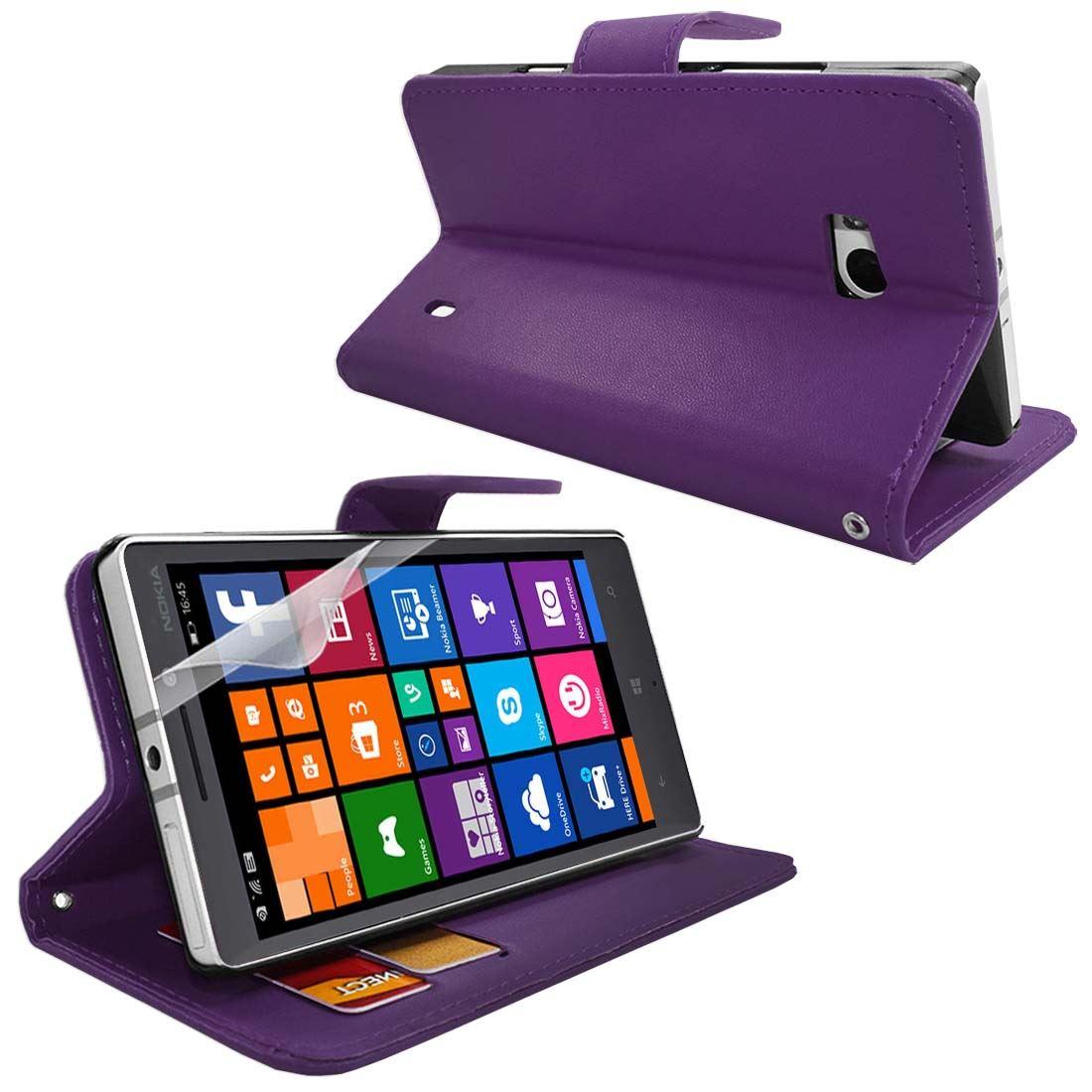 Custodia Portafoglio in PU pelle laterali Flip Stand Nokia Lumia 930 + pellicola