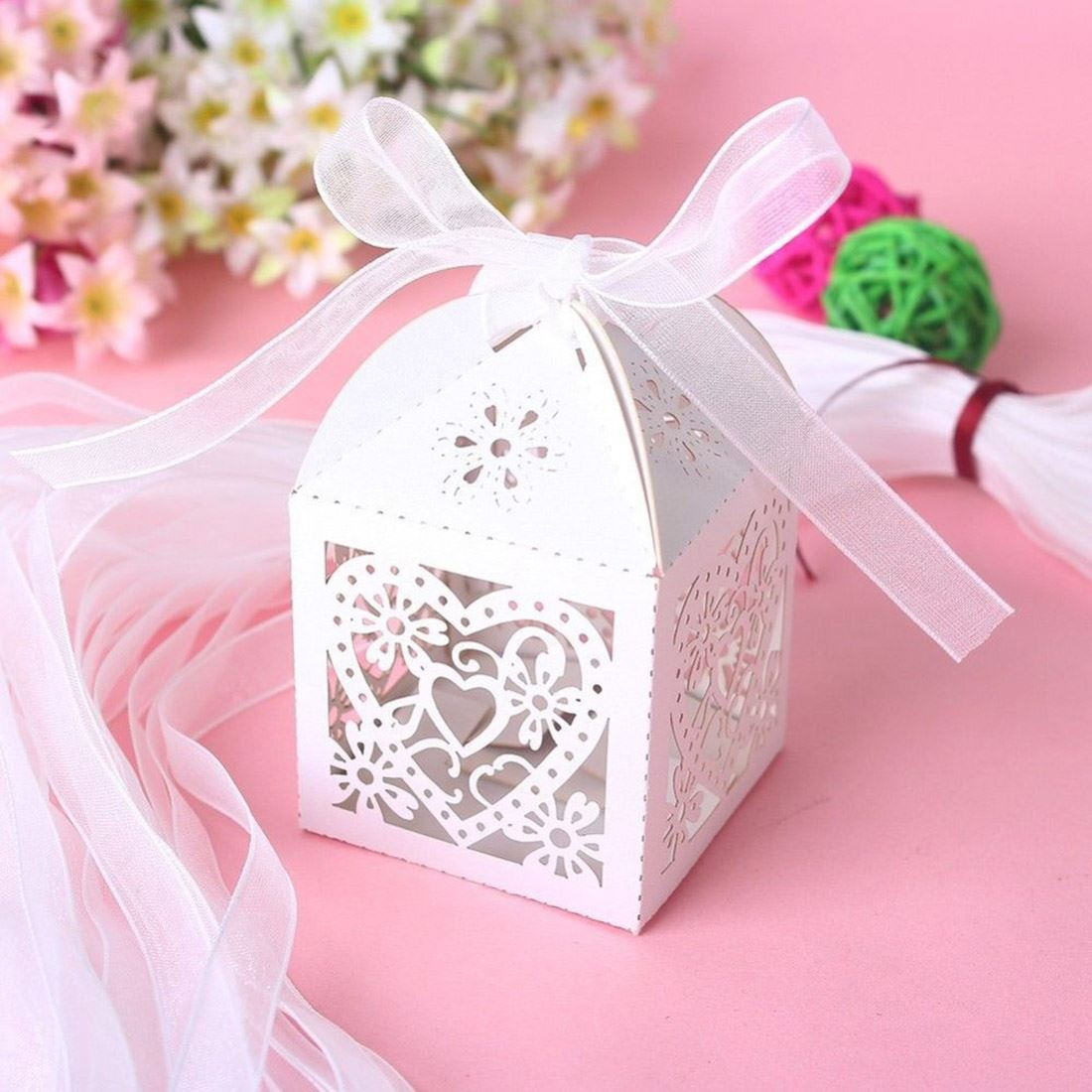 Luxury Wedding Laser Cut Candy Cake Gift Favors Boxes With