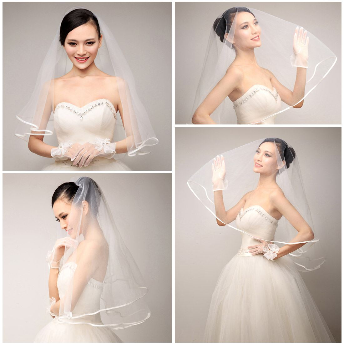 New 2T White and Ivory Wedding Prom Bridal with Veil Satin Edge Comb ...
