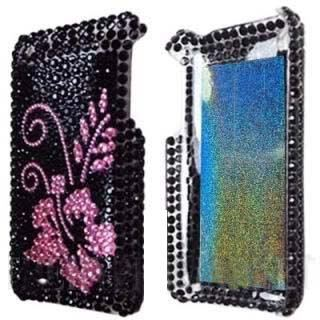 BLACK-PINK-iPhone-3G-3GS-FOR-APPLE-FLOWER-RHINESTONE-HARD-PLASTIC-CASE-COVER