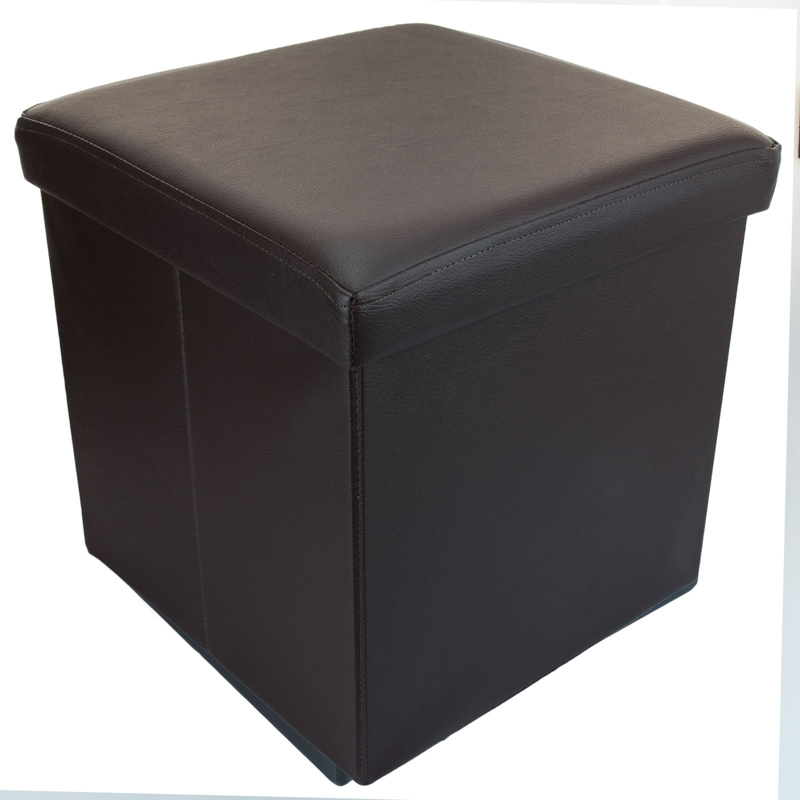 Small ottoman folding storage box foot rest with lid 38 x for Foot storage ottoman