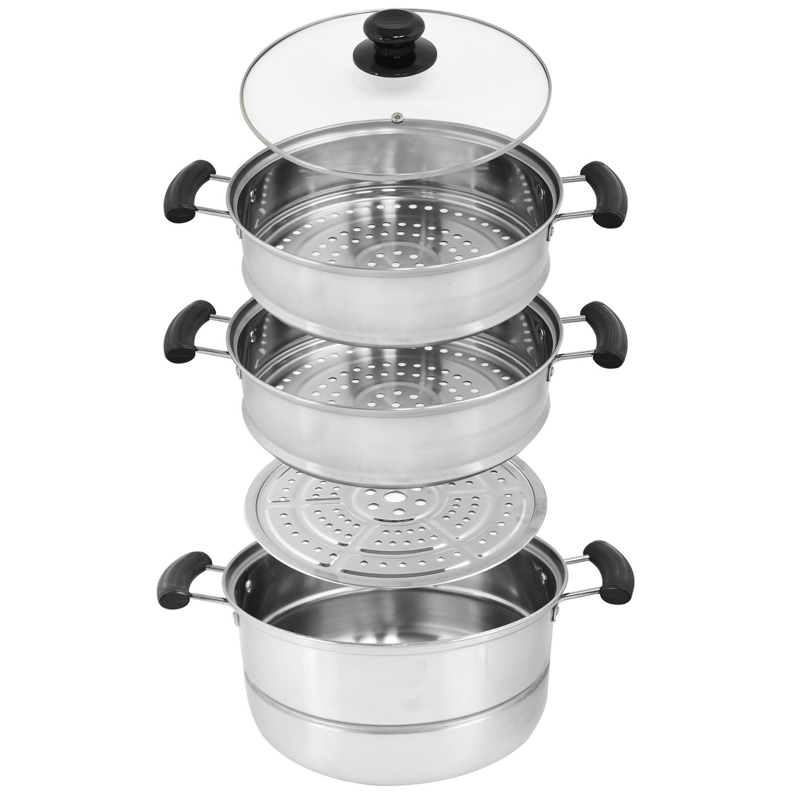 Cooking Pot Steamer ~ Cm tier steamer cooker pot set pan cook food glass