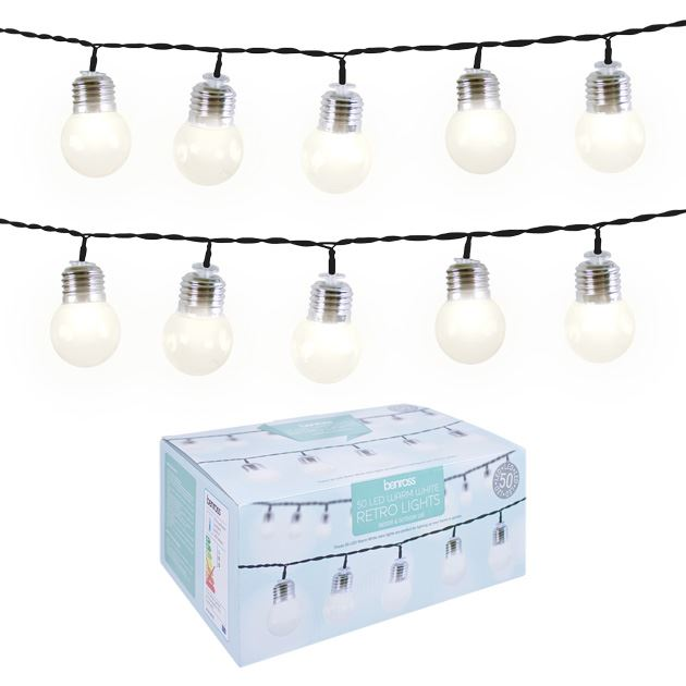 Vintage Led String Lights Merchsource : 50 LED Retro Light Bulb String Multi Colour White Home Garden Indoor Outdoor eBay