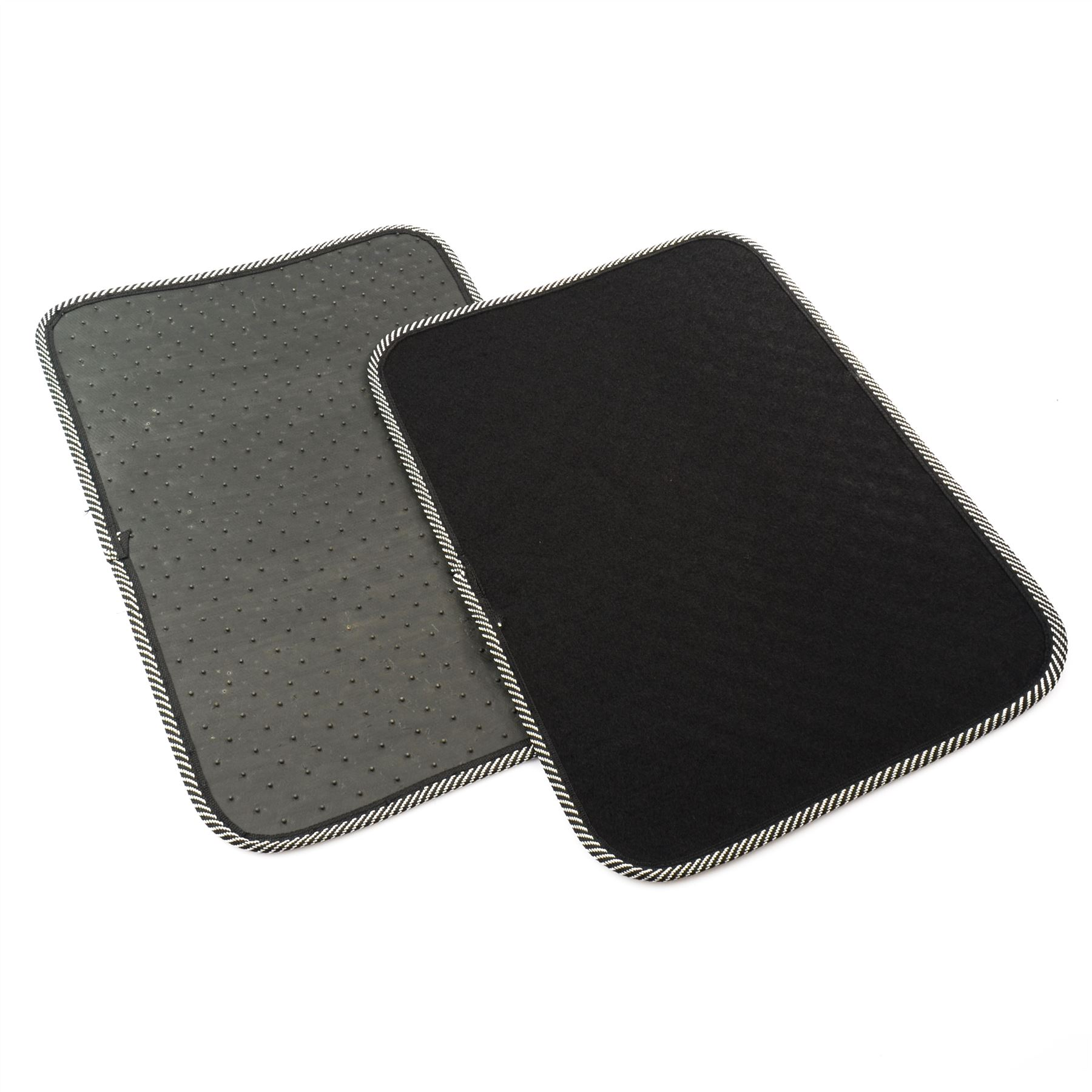 New Universal Car Floor Mats Rubber Carpets Non Slip Grip Front Rear Black