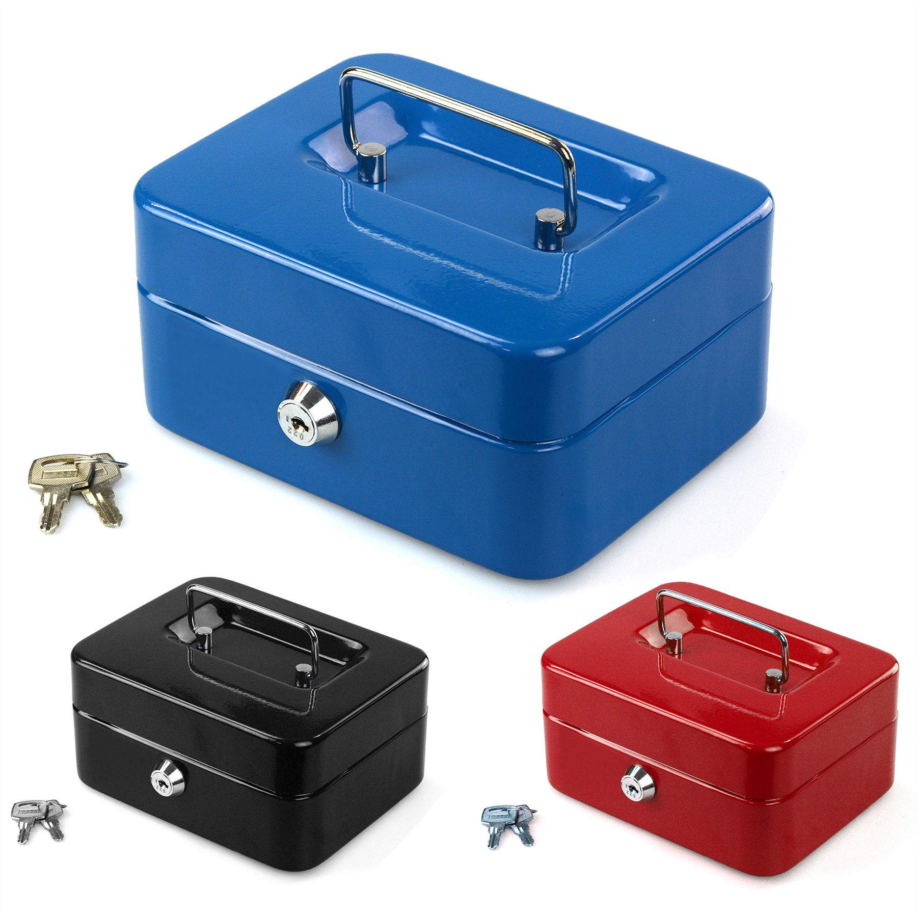 Petty cash safety deposit box metal security steel money for 4 compartment piggy bank