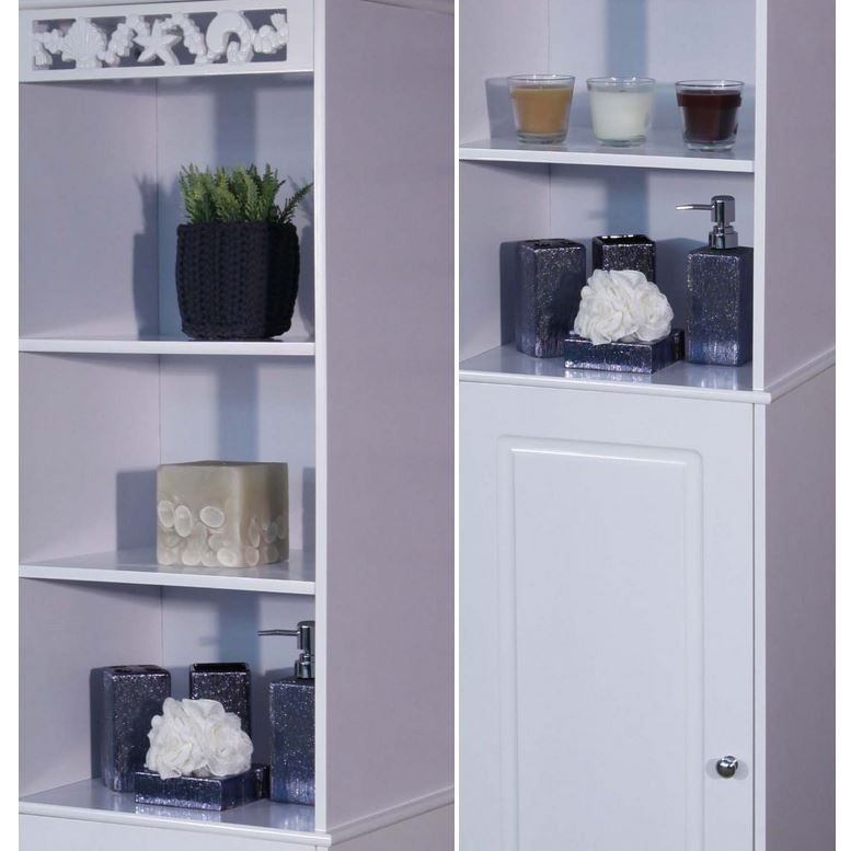tall white wooden bathroom storage cabinet freestanding cupboard unit