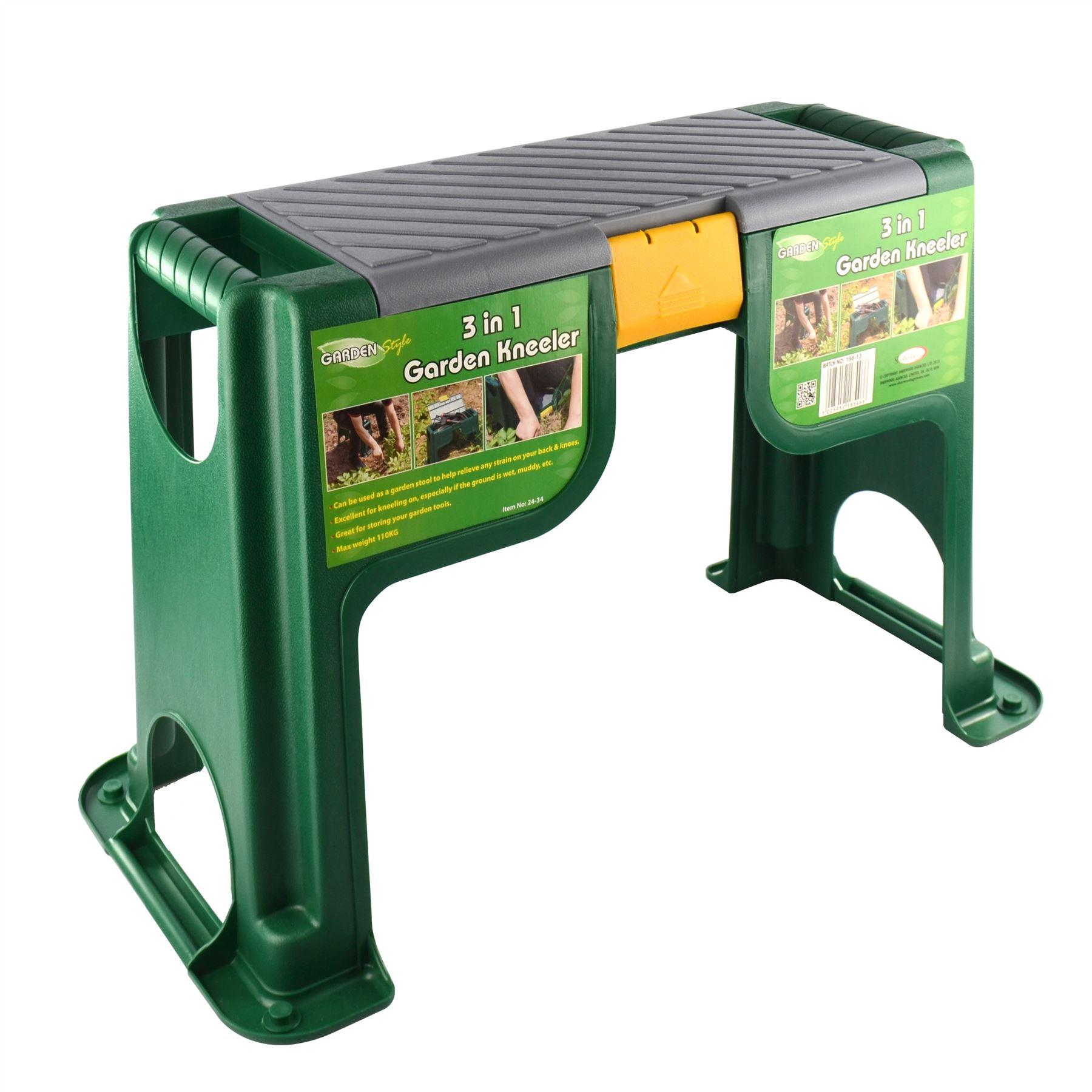 Portable Plastic Garden Kneeler Foam Chair Padded Storage