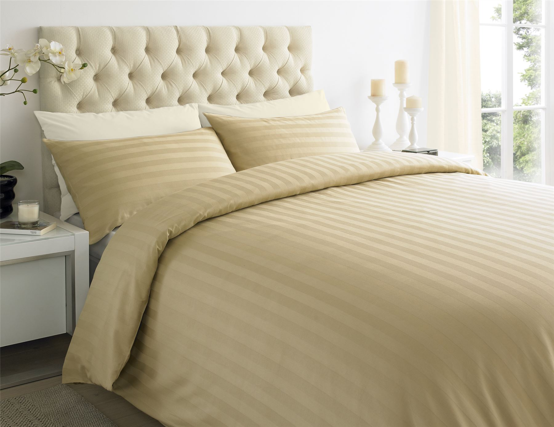 250tc Egyptian Cotton Sateen Stripe Duvet Quilt Cover