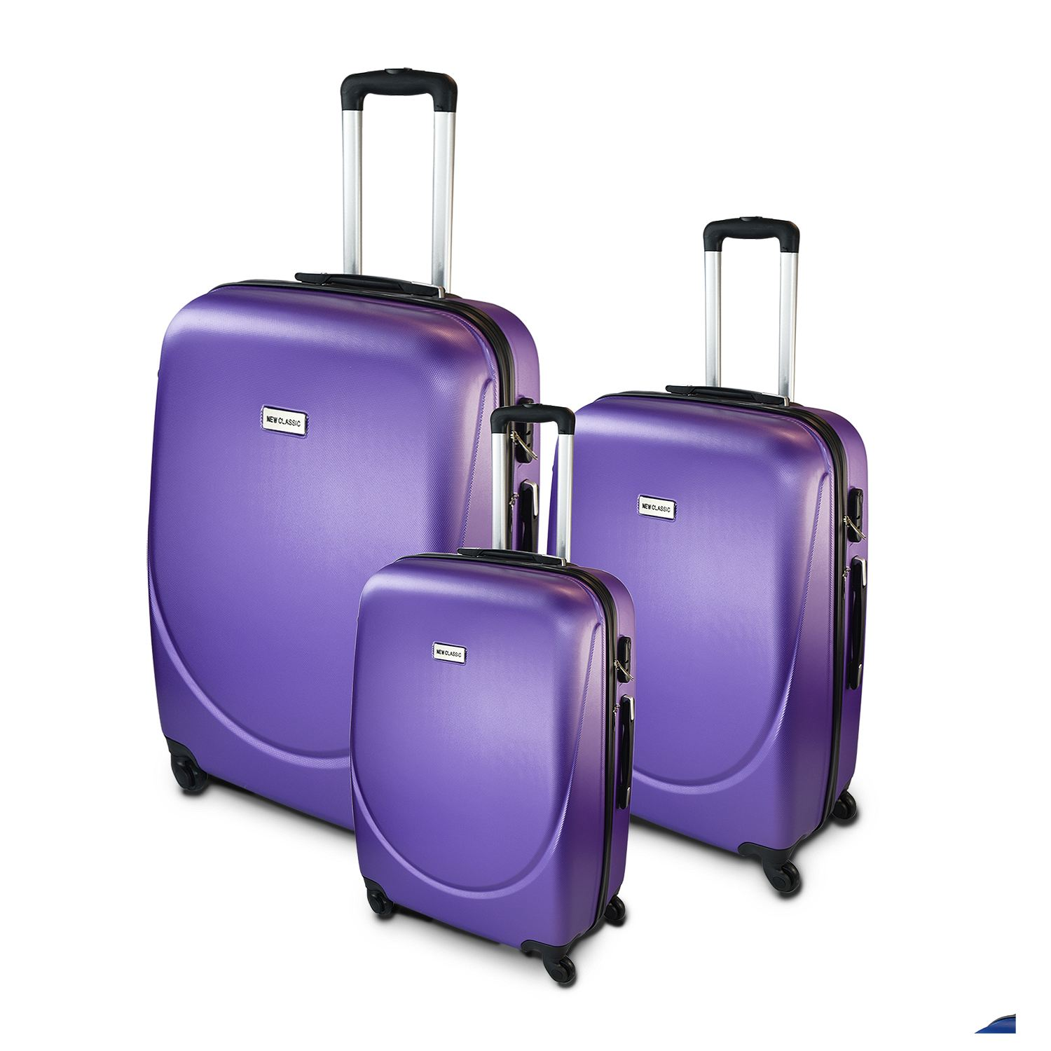 3pc hard shell suitcase luggage set 4 wheeled trolley abs. Black Bedroom Furniture Sets. Home Design Ideas