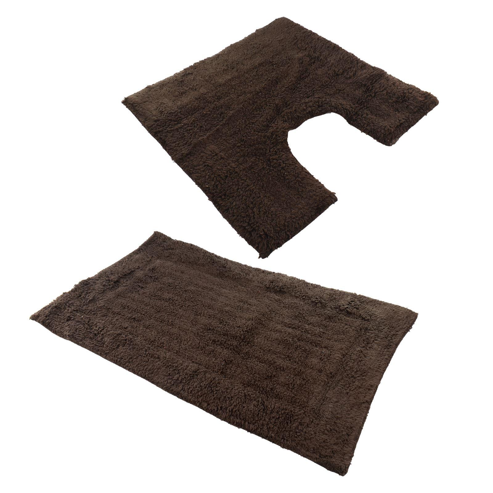 New Cotton 2 Piece Bath Mat And Pedestal Set Non Slip Washable 9 Colours