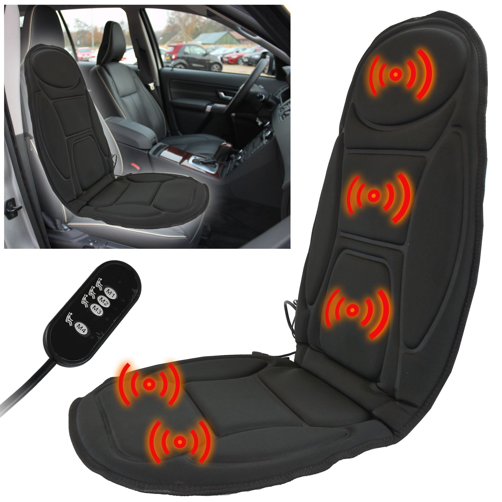 massage car seat cover chair back massager vibrate cushion van home stress relax. Black Bedroom Furniture Sets. Home Design Ideas