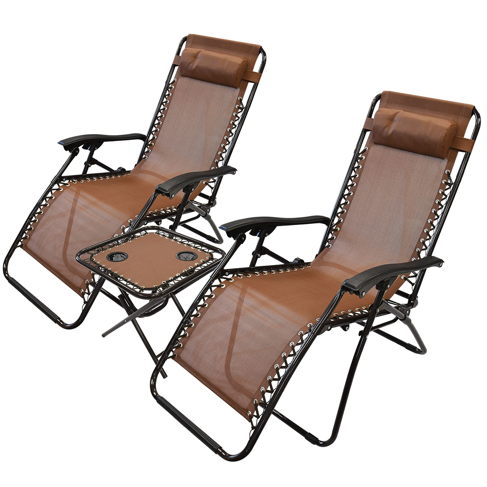 3pc folding table reclining sun lounger chair textoline for Chaise longue transat pliante