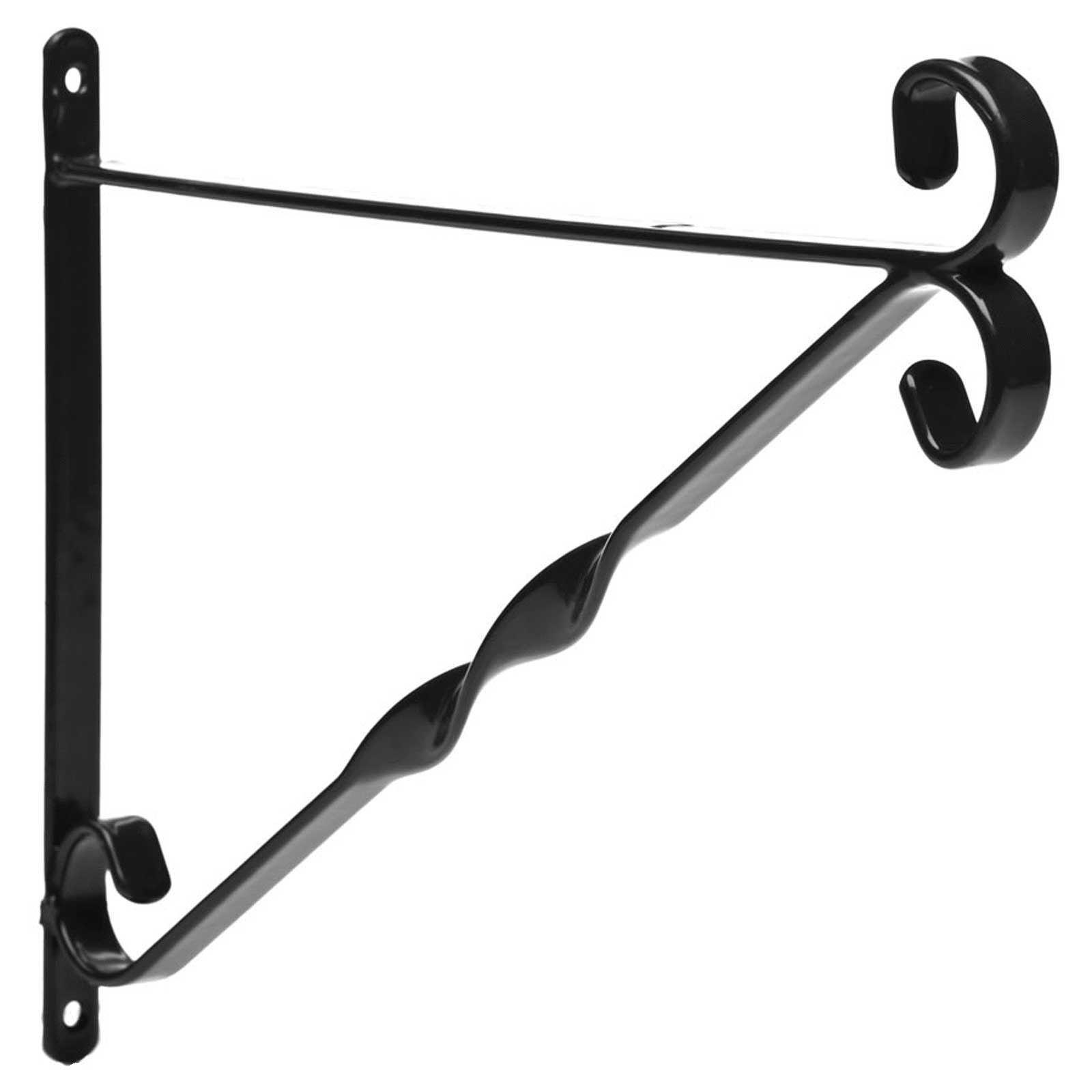 Flower Basket Hanging Brackets : Flower hanging basket bracket black weather proof plastic