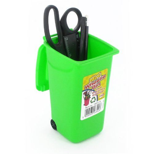 New Mini Wheelie Bin Novelty Desk Tidy Desktop Stationery Organiser Pen Pot Gift