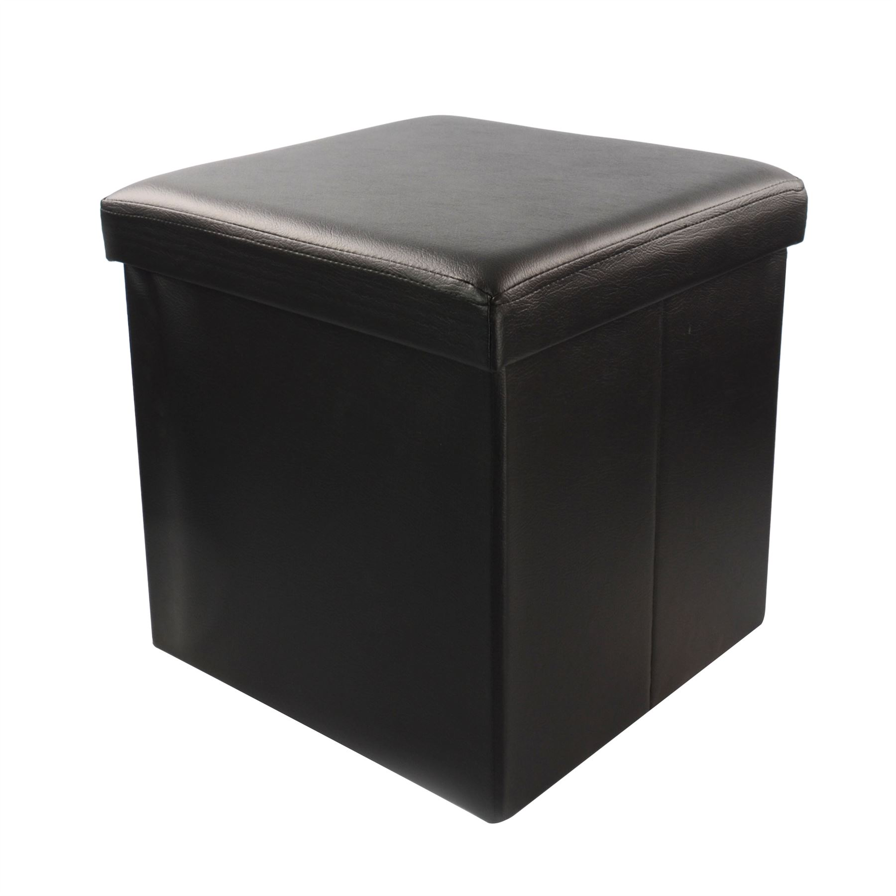 New leather small faux folding storage pouffe foot ottoman for Small ottoman storage