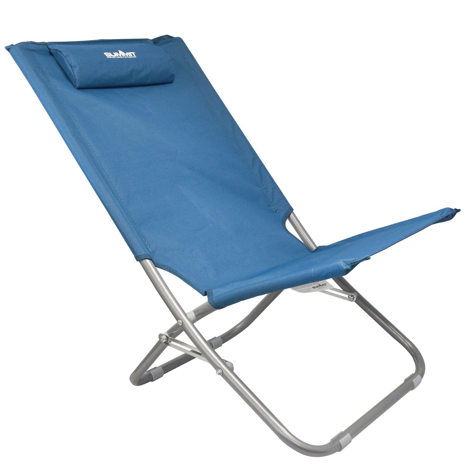 Summit Relaxer Folding Maderia Sun Lounger Lightweight Camping Beach Chair Bl