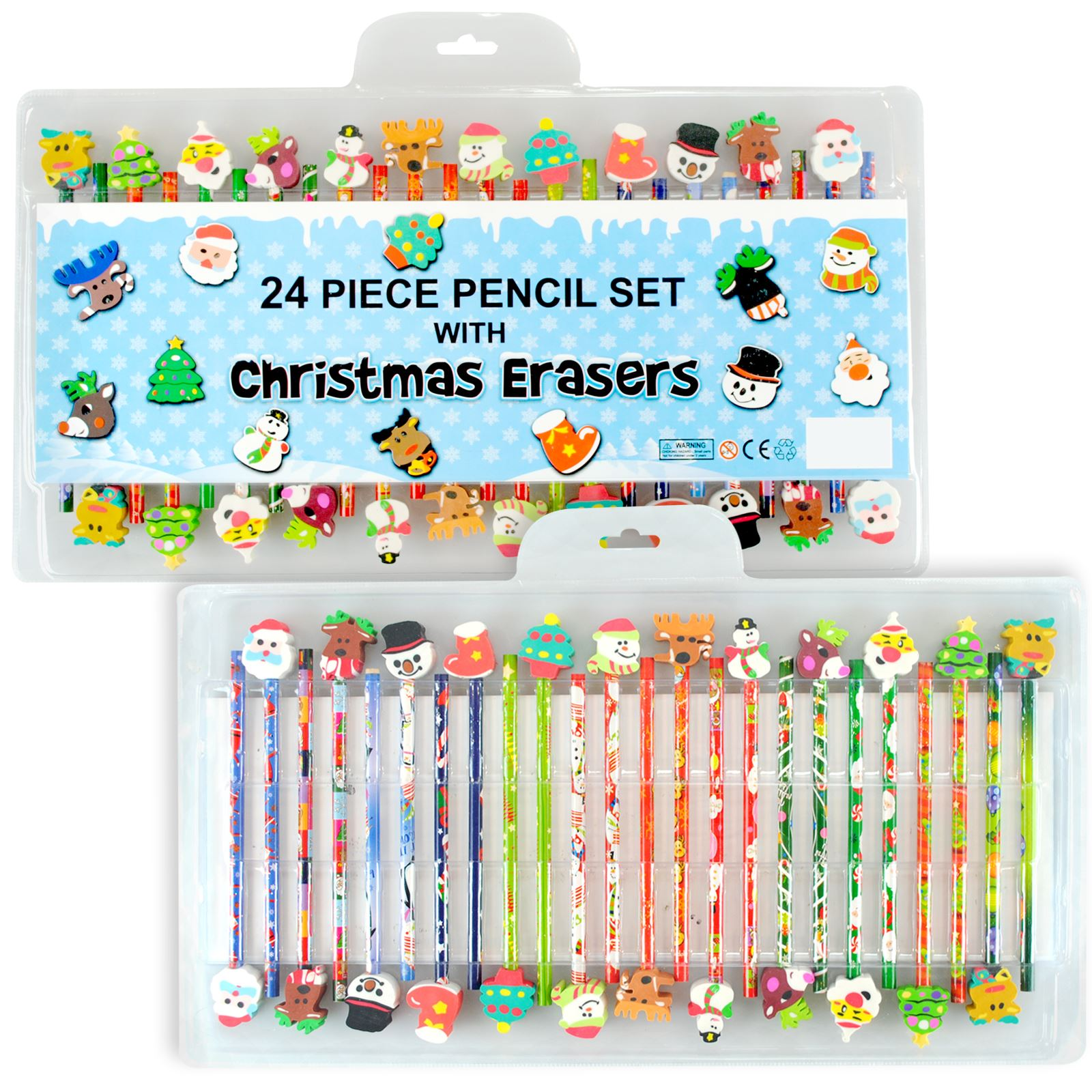Kids 24 Piece Pencil Stationary Set With Christmas Eraser