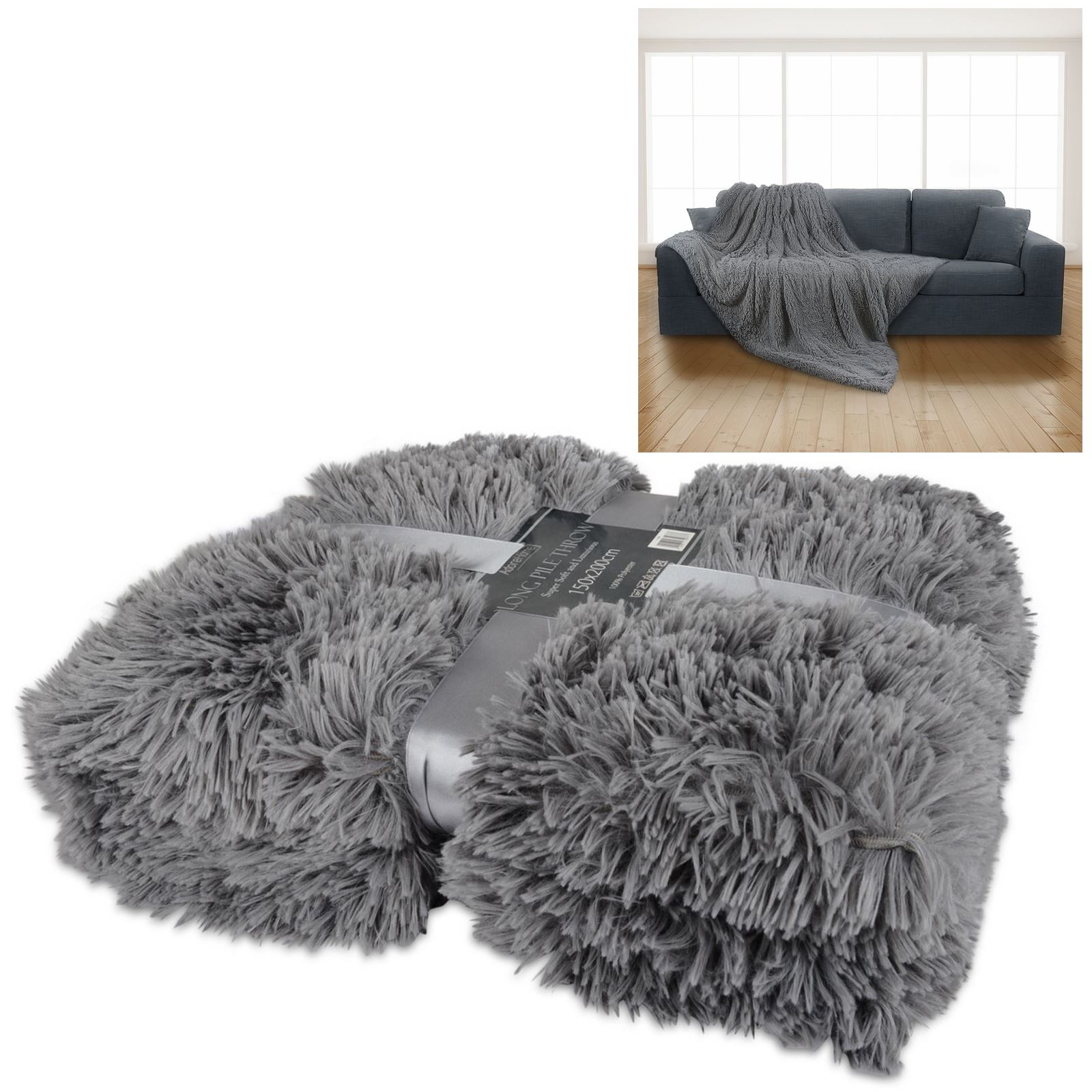 Luxury Long Pile Throw Blanket Super Soft Faux Fur Warm ...