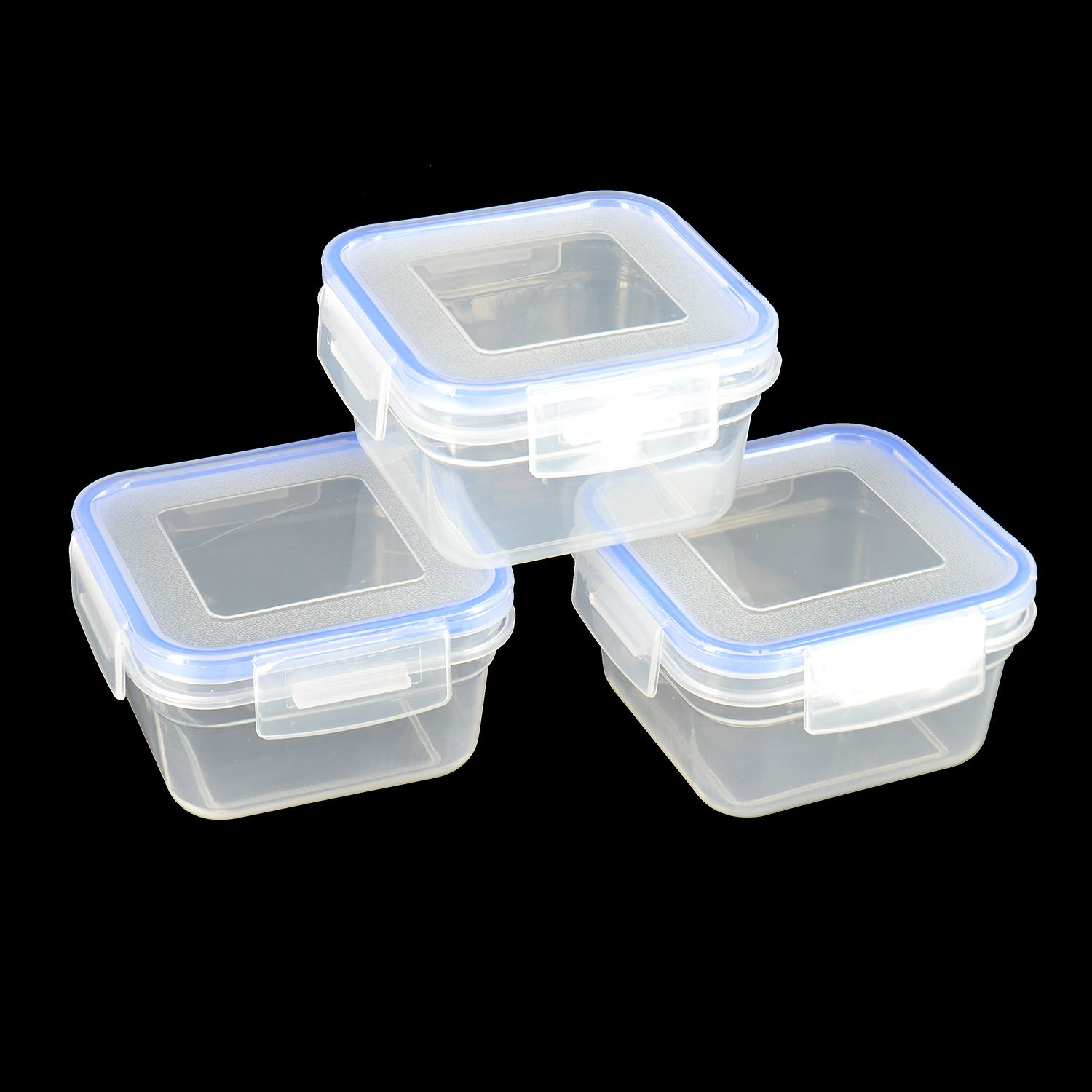 new 3x clip lock lids containers storage clear plastic boxes fresh food lunch ebay. Black Bedroom Furniture Sets. Home Design Ideas