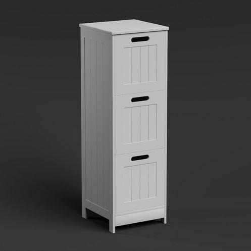 3 Drawers White Wooden Bathroom Storage Cabinet Freestanding Cupboard Floor Unit Ebay