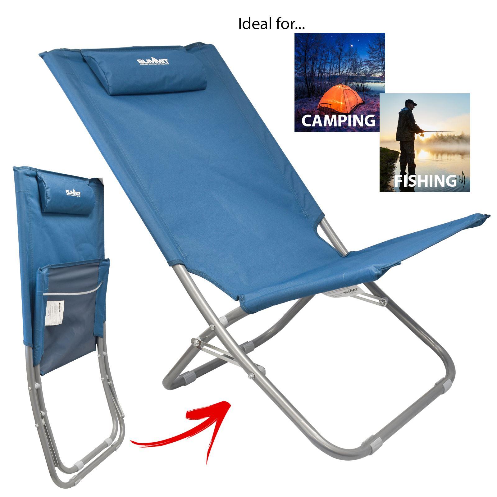 Summit Folding Relaxer Maderia Chair Lightweight Camping Beach Sun Lounger Bl