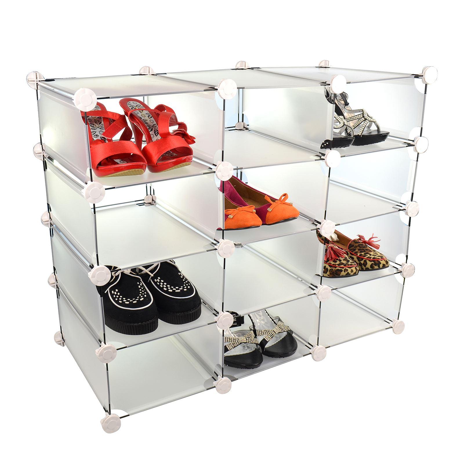 New 12 compartment shoe storage interlocking box display shelf unit - Shoe box storage shelves ...