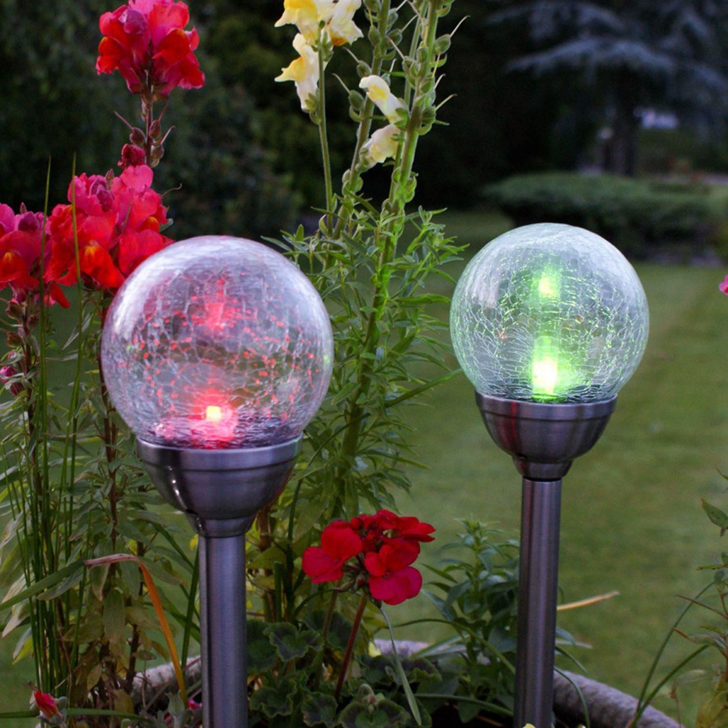 Solar powered stainless steel colour changing led glass for Solar garden lights