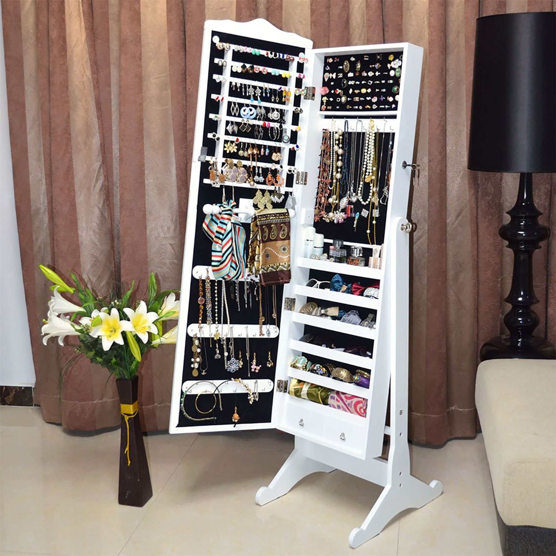 Jewellery jewelry storage box cabinet organiser armoire for Mirror jewellery cabinet
